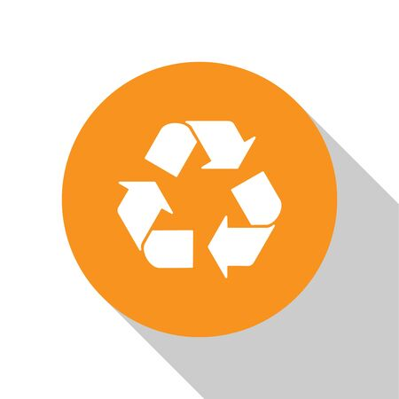 White Recycle symbol icon isolated on white background. Circular arrow icon. Environment recyclable go green. Orange circle button. Vector Illustration