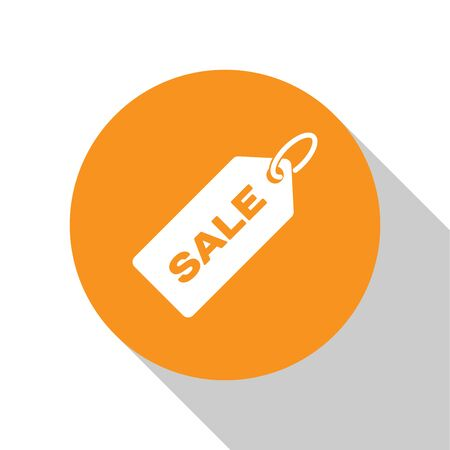 White Price tag with an inscription Sale icon isolated on white background. Badge for price. Promo tag discount. Orange circle button. Vector Illustration