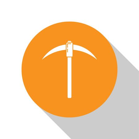 White Pickaxe icon isolated on white background. Blockchain technology, cryptocurrency mining, bitcoin, digital money market, cryptocoin wallet. Orange circle button. Flat design. Vector Illustration