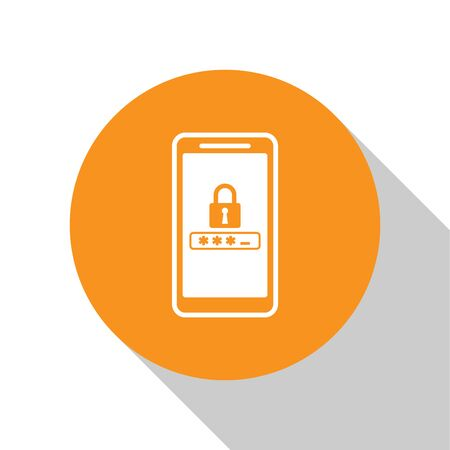 White Mobile phone and password protection icon isolated on white background. Security, safety, personal access, user authorization, privacy. Orange circle button. Vector Illustration Vettoriali