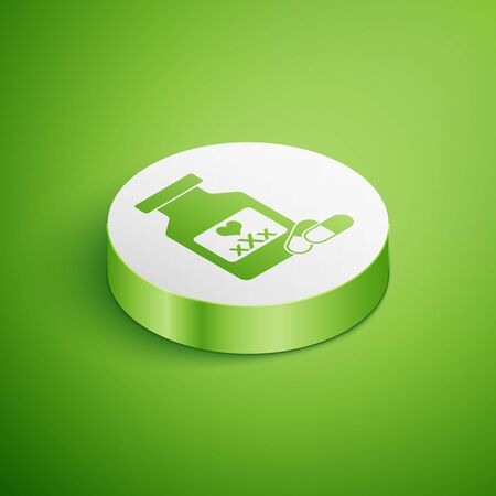 Isometric Medicine bottle with pills for potency, aphrodisiac icon isolated on green background. Sex pills for men and women. White circle button. Vector Illustration