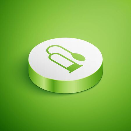 Isometric Penis pump icon isolated on green background. Penis enlarger. Sex toy for men. Vacuum pump with a blower to increase the penis. White circle button. Vector Illustration