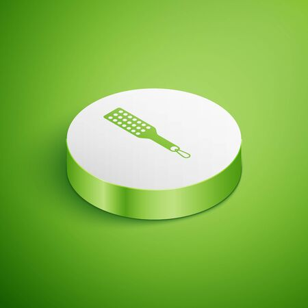 Isometric Spanking paddle icon isolated on green background. Fetish accessory. Sex toy for adult. White circle button. Vector Illustration