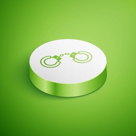 Isometric Sexy fluffy handcuffs icon isolated on green background. Handcuffs with fur. Fetish accessory. Sex shop stuff for sadist and masochist. White circle button. Vector Illustration