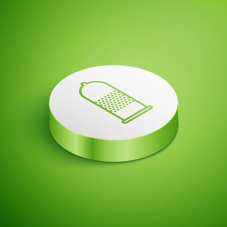Isometric Condom safe sex icon isolated on green background. Safe love symbol. Contraceptive method for male. White circle button. Vector Illustration Illustration