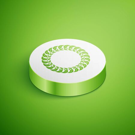 Isometric Laurel wreath icon isolated on green background. Triumph symbol. White circle button. Vector Illustration