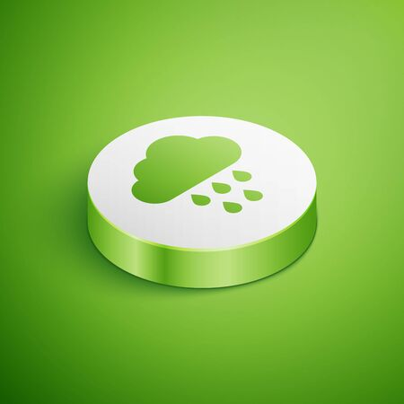Isometric Cloud with rain icon isolated on green background. Rain cloud precipitation with rain drops. White circle button. Vector Illustration