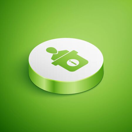 Isometric Information desk icon isolated on green background. Man silhouette standing at information desk. Help person symbol. Information counter icon. White circle button. Vector Illustration