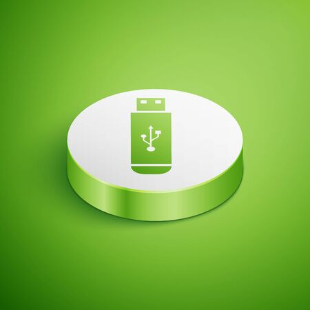 Isometric USB flash drive icon isolated on green background. White circle button. Vector Illustration
