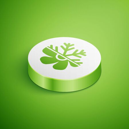 Isometric Air conditioner icon isolated on green background. White circle button. Vector Illustration