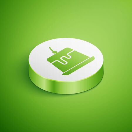 Isometric Pudding custard with caramel glaze icon isolated on green background. White circle button. Vector Illustration
