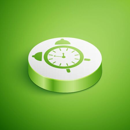 Isometric Alarm clock icon isolated on green background. Wake up, get up concept. Time sign. White circle button. Vector Illustration