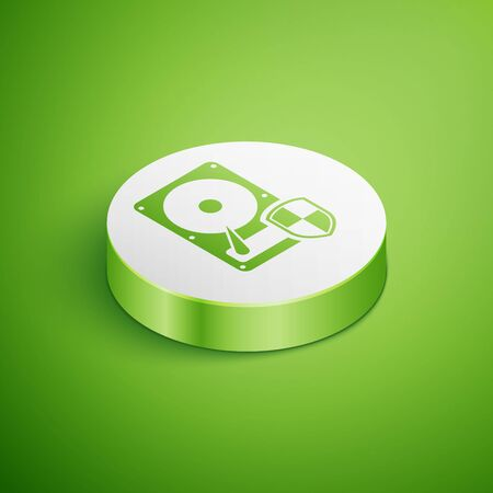 Isometric Hard disk drive HDD protection icon isolated on green background. White circle button. Vector Illustration