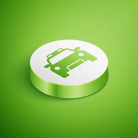 Isometric Police car and police flasher icon isolated on green background. Emergency flashing siren. White circle button. Vector Illustration