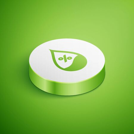 Isometric Water drop percentage icon isolated on green background. Humidity analysis. White circle button. Vector Illustration 일러스트