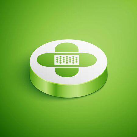 Isometric Crossed bandage plaster icon isolated on green background. Medical plaster, adhesive bandage, flexible fabric bandage. White circle button. Vector Illustration Illusztráció