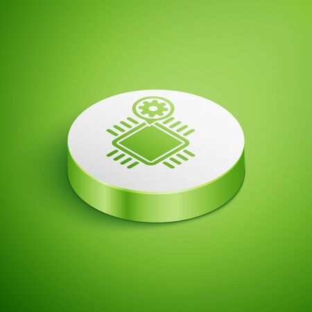 Isometric Processor and gear icon isolated on green background. CPU, chip service concept. Adjusting app, setting options, maintenance, repair, fixing. White circle button. Vector Illustration Çizim