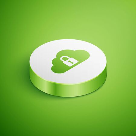 Isometric Cloud computing lock icon isolated on green background. Security, safety, protection concept. White circle button. Vector Illustration