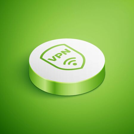 Isometric Shield with VPN and wifi wireless internet network symbol icon isolated on green background. VPN protect safety concept. White circle button. Vector Illustration