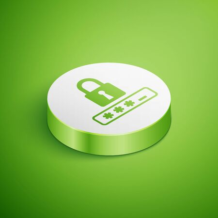 Isometric Password protection and safety access icon isolated on green background. Lock icon. Security, safety, protection, privacy concept. White circle button. Vector Illustration Illustration