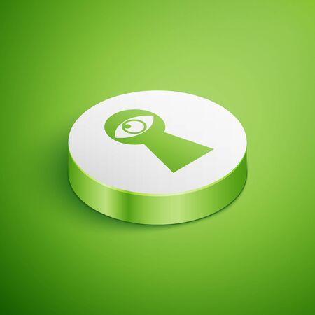 Isometric Keyhole with eye icon isolated on green background. The eye looks into the keyhole. Keyhole eye hole. White circle button. Vector Illustration