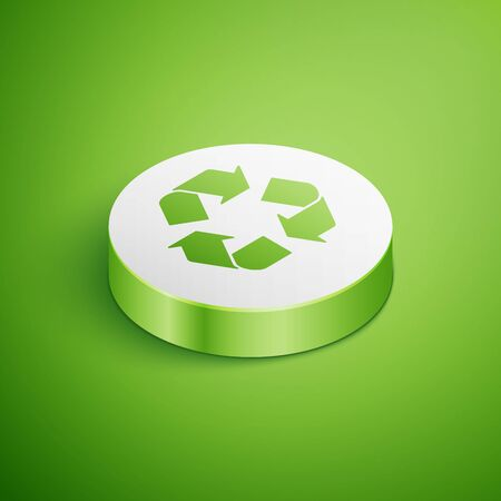 Isometric Recycle symbol icon isolated on green background. Circular arrow icon. Environment recyclable go green. White circle button. Vector Illustration