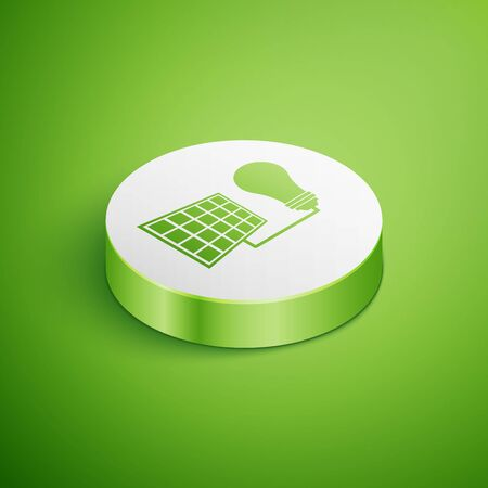 Isometric Solar energy panel and light bulb icon isolated on green background. White circle button. Vector Illustration Ilustrace
