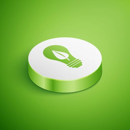 Isometric Light bulb with leaf icon isolated on green background. Eco energy concept. Alternative energy concept. White circle button. Vector Illustration Ilustrace