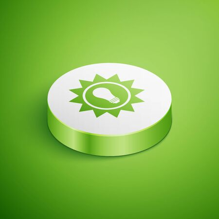 Isometric Solar energy panel icon isolated on green background. Sun and light bulb. White circle button. Vector Illustration Ilustrace