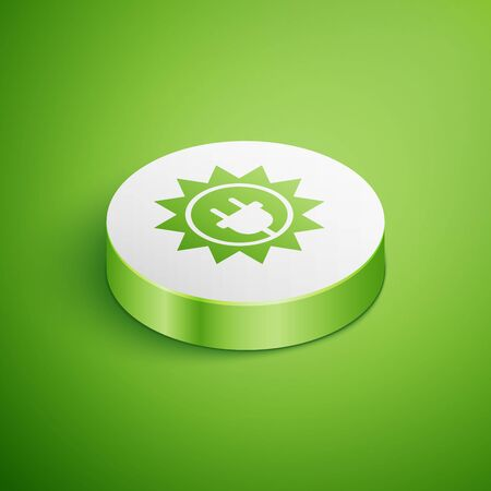 Isometric Solar energy panel icon isolated on green background. Sun and electric plug. White circle button. Vector Illustration