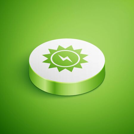 Isometric Solar energy panel icon isolated on green background. Sun with lightning symbol. White circle button. Vector Illustration