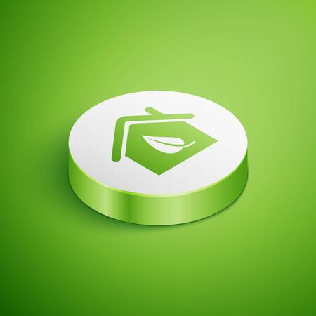 Isometric Eco friendly house icon isolated on green background. Eco house with leaf. White circle button. Vector Illustration