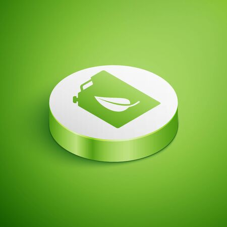 Isometric Bio fuel canister icon isolated on green background. Eco bio and barrel. Green environment and recycle. White circle button. Vector Illustration