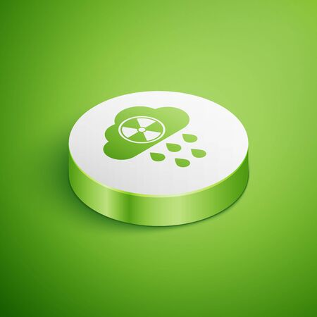 Isometric Acid rain and radioactive cloud icon isolated on green background. Effects of toxic air pollution on the environment. White circle button. Vector Illustration 向量圖像