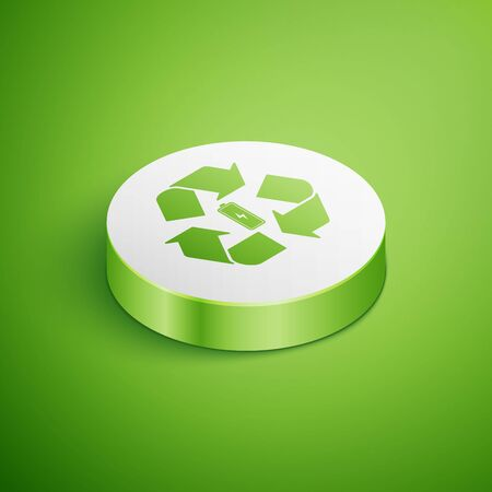 Isometric Battery with recycle symbol line icon isolated on green background. Battery with recycling symbol - renewable energy concept. White circle button. Vector Illustration