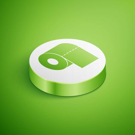 Isometric Toilet paper roll icon isolated on green background. White circle button. Vector Illustration