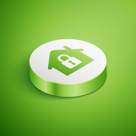 Isometric House under protection icon isolated on green background. Home and lock. Protection, safety, security, protect, defense concept. White circle button. Vector Illustration Illustration