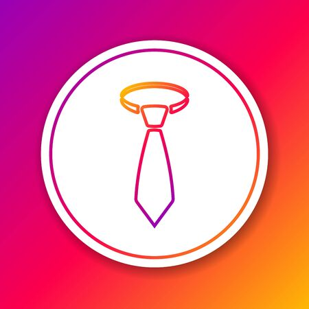 Color Tie line icon isolated on color background. Necktie and neckcloth symbol. Circle white button. Vector Illustration Illustration