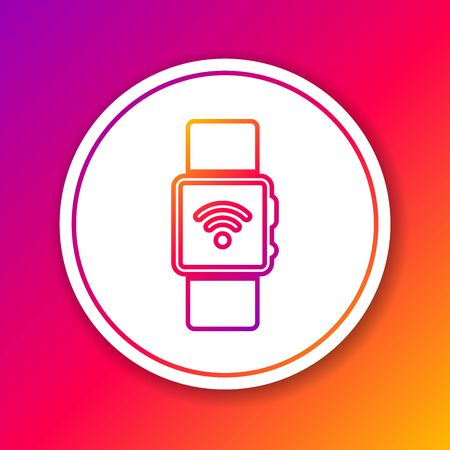 Color Smartwatch with wireless symbol line icon isolated on color background. Circle white button. Vector Illustration