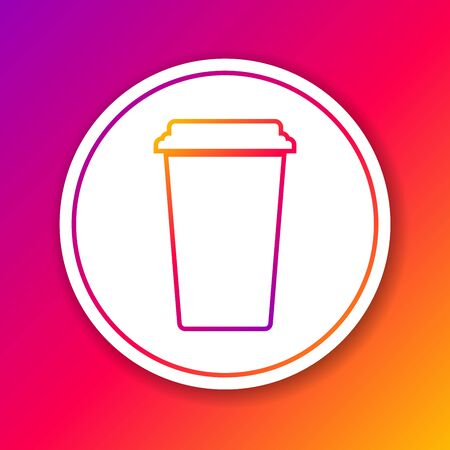 Color Coffee cup line icon isolated on color background. Disposable coffee cup with hot coffee. Circle white button. Vector Illustration Ilustrace