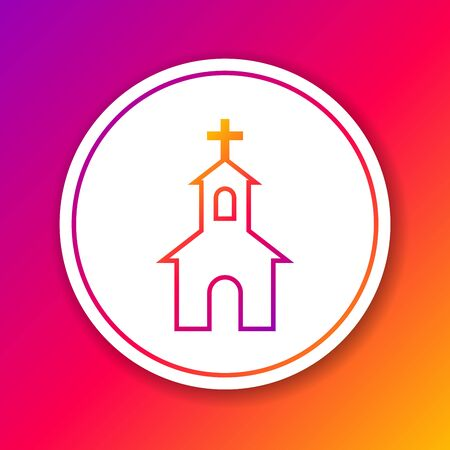 Color Church building line icon isolated on color background. Christian Church. Religion of church. Circle white button. Vector Illustration
