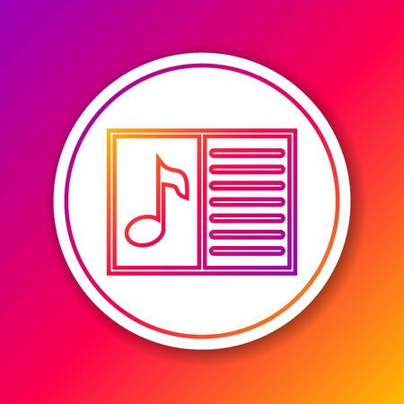 Color Music book with note line icon isolated on color background. Music sheet with note stave. Notebook for musical notes. Circle white button. Vector Illustration