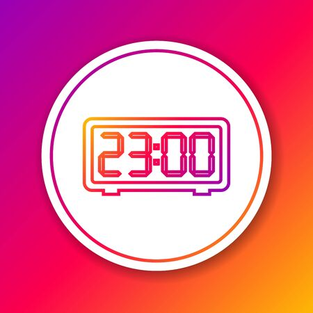 Color Digital alarm clock line icon isolated on color background. Electronic watch alarm clock. Time icon. Circle white button. Vector Illustration