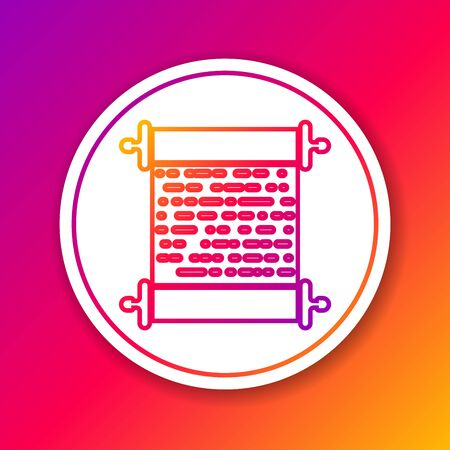 Color Paper Scroll Line Icon Isolated On Color Background