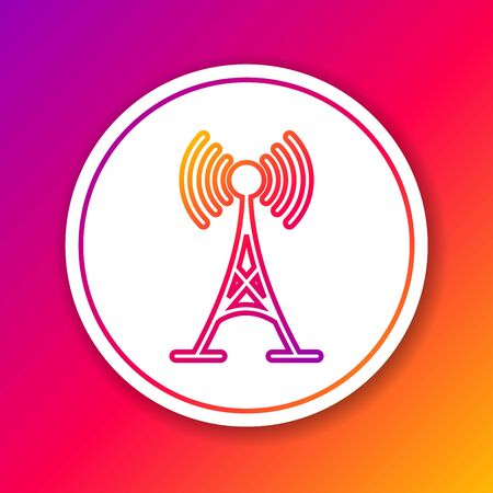Color Antenna line icon isolated on color background. Radio antenna wireless. Technology and network signal radio antenna. Circle white button. Vector Illustration Illustration