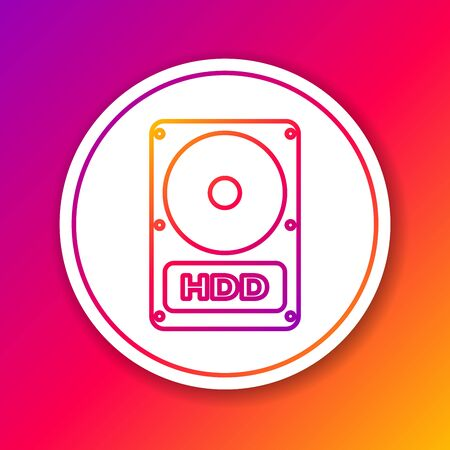 Color Hard disk drive HDD line icon isolated on color background. Circle white button. Vector Illustration