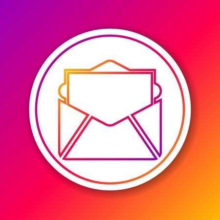Color Mail and e-mail line icon isolated on color background. Envelope symbol e-mail. Email message sign. Circle white button. Vector Illustration Illustration