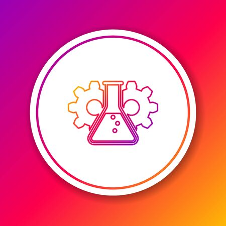 Color Bioengineering line icon isolated on color background. Element of genetics and bioengineering icon. Biology, molecule, chemical icon. Circle white button. Vector Illustration