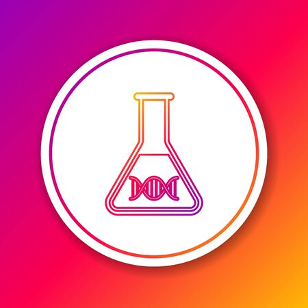 Color DNA research, search line icon isolated on color background. Genetic engineering, genetics testing, cloning, paternity testing. Circle white button. Vector Illustration Ilustração