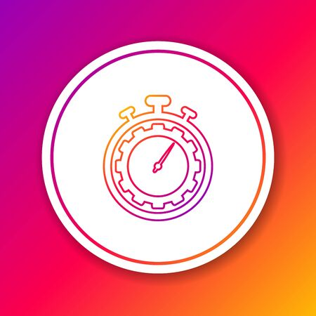 Color Time Management line icon isolated on color background. Clock and gear sign. Productivity symbol. Circle white button. Vector Illustration